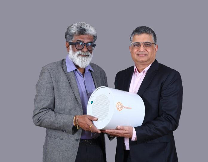 Dr Rajah Vijaya and Alok Sharma with the Shyocan virus attentuation device Photo Shyocan